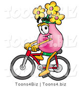 Illustration of a Cartoon Flowers Mascot Riding a Bicycle by Toons4Biz