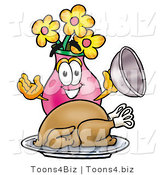 Illustration of a Cartoon Flowers Mascot Serving a Thanksgiving Turkey on a Platter by Toons4Biz