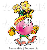Illustration of a Cartoon Flowers Mascot Speed Walking or Jogging by Toons4Biz