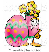 Illustration of a Cartoon Flowers Mascot Standing Beside an Easter Egg by Toons4Biz