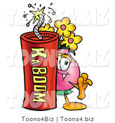 Illustration of a Cartoon Flowers Mascot Standing with a Lit Stick of Dynamite by Toons4Biz
