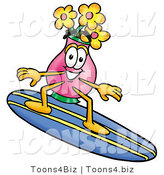 Illustration of a Cartoon Flowers Mascot Surfing on a Blue and Yellow Surfboard by Toons4Biz