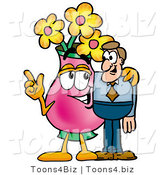 Illustration of a Cartoon Flowers Mascot Talking to a Business Man by Toons4Biz
