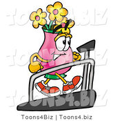 Illustration of a Cartoon Flowers Mascot Walking on a Treadmill in a Fitness Gym by Toons4Biz