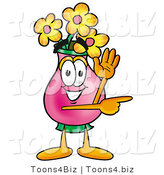 Illustration of a Cartoon Flowers Mascot Waving and Pointing by Toons4Biz