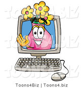 Illustration of a Cartoon Flowers Mascot Waving from Inside a Computer Screen by Toons4Biz