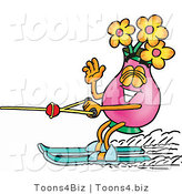 Illustration of a Cartoon Flowers Mascot Waving While Water Skiing by Toons4Biz