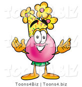 Illustration of a Cartoon Flowers Mascot Wearing a Birthday Party Hat by Toons4Biz
