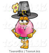 Illustration of a Cartoon Flowers Mascot Wearing a Pilgrim Hat on Thanksgiving by Toons4Biz
