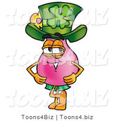 Illustration of a Cartoon Flowers Mascot Wearing a Saint Patricks Day Hat with a Clover on It by Toons4Biz