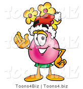Illustration of a Cartoon Flowers Mascot Wearing a Santa Hat and Waving by Toons4Biz