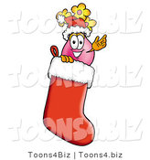 Illustration of a Cartoon Flowers Mascot Wearing a Santa Hat Inside a Red Christmas Stocking by Toons4Biz