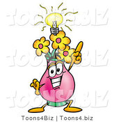 Illustration of a Cartoon Flowers Mascot with a Bright Idea by Toons4Biz