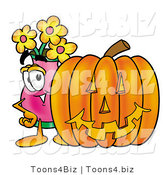 Illustration of a Cartoon Flowers Mascot with a Carved Halloween Pumpkin by Toons4Biz