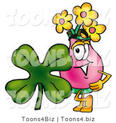 Illustration of a Cartoon Flowers Mascot with a Green Four Leaf Clover on St Paddy's or St Patricks Day by Toons4Biz