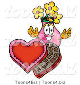 Illustration of a Cartoon Flowers Mascot with an Open Box of Valentines Day Chocolate Candies by Toons4Biz