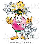Illustration of a Cartoon Flowers Mascot with Three Snowflakes in Winter by Toons4Biz