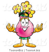 Illustration of a Cartoon Flowers Mascot with Welcoming Open Arms by Toons4Biz