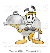 Illustration of a Cartoon Golf Ball Mascot Dressed As a Waiter and Holding a Serving Platter by Toons4Biz