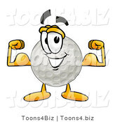 Illustration of a Cartoon Golf Ball Mascot Flexing His Arm Muscles by Toons4Biz