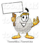 Illustration of a Cartoon Golf Ball Mascot Holding a Blank Sign by Toons4Biz