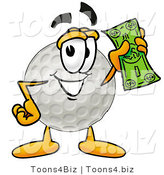 Illustration of a Cartoon Golf Ball Mascot Holding a Dollar Bill by Toons4Biz