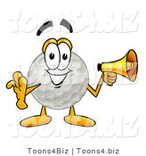 Illustration of a Cartoon Golf Ball Mascot Holding a Megaphone by Toons4Biz