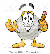 Illustration of a Cartoon Golf Ball Mascot Holding a Pencil by Toons4Biz