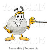 Illustration of a Cartoon Golf Ball Mascot Holding a Pointer Stick by Toons4Biz