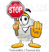 Illustration of a Cartoon Golf Ball Mascot Holding a Stop Sign by Toons4Biz