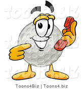 Illustration of a Cartoon Golf Ball Mascot Holding a Telephone by Toons4Biz