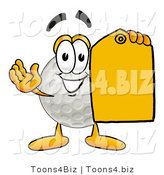 Illustration of a Cartoon Golf Ball Mascot Holding a Yellow Sales Price Tag by Toons4Biz