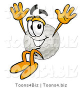 Illustration of a Cartoon Golf Ball Mascot Jumping by Toons4Biz
