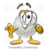 Illustration of a Cartoon Golf Ball Mascot Looking Through a Magnifying Glass by Toons4Biz