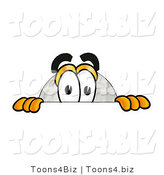 Illustration of a Cartoon Golf Ball Mascot Peeking over a Surface by Toons4Biz