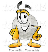Illustration of a Cartoon Golf Ball Mascot Pointing at the Viewer by Toons4Biz