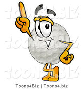 Illustration of a Cartoon Golf Ball Mascot Pointing Upwards by Toons4Biz