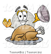 Illustration of a Cartoon Golf Ball Mascot Serving a Thanksgiving Turkey on a Platter by Toons4Biz