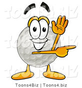 Illustration of a Cartoon Golf Ball Mascot Waving and Pointing by Toons4Biz