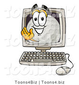 Illustration of a Cartoon Golf Ball Mascot Waving from Inside a Computer Screen by Toons4Biz