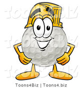 Illustration of a Cartoon Golf Ball Mascot Wearing a Helmet by Toons4Biz