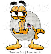 Illustration of a Cartoon Golf Ball Mascot Whispering and Gossiping by Toons4Biz