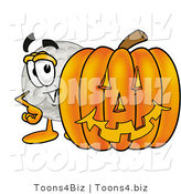 Illustration of a Cartoon Golf Ball Mascot with a Carved Halloween Pumpkin by Toons4Biz