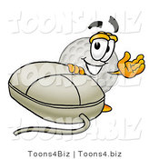 Illustration of a Cartoon Golf Ball Mascot with a Computer Mouse by Toons4Biz