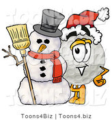 Illustration of a Cartoon Golf Ball Mascot with a Snowman on Christmas by Toons4Biz