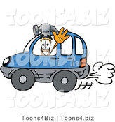 Illustration of a Cartoon Hammer Mascot Driving a Blue Car and Waving by Toons4Biz