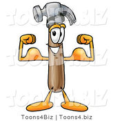 Illustration of a Cartoon Hammer Mascot Flexing His Arm Muscles by Toons4Biz
