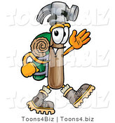 Illustration of a Cartoon Hammer Mascot Hiking and Carrying a Backpack by Toons4Biz