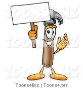 Illustration of a Cartoon Hammer Mascot Holding a Blank Sign by Toons4Biz