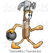 Illustration of a Cartoon Hammer Mascot Holding a Bowling Ball by Toons4Biz